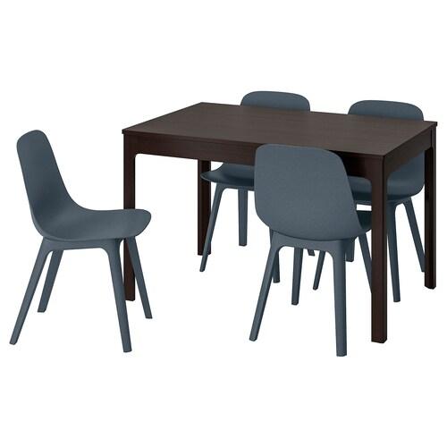 EKEDALEN / ODGER طاولة و4 كراسي بني غامق/أزرق 120 سم 180 سم