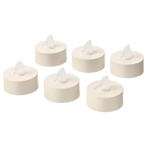 GODAFTON شموع LED، داخلي/خارجي يعمل بالبطارية/لون طبيعي 4 سم 6 قطعة