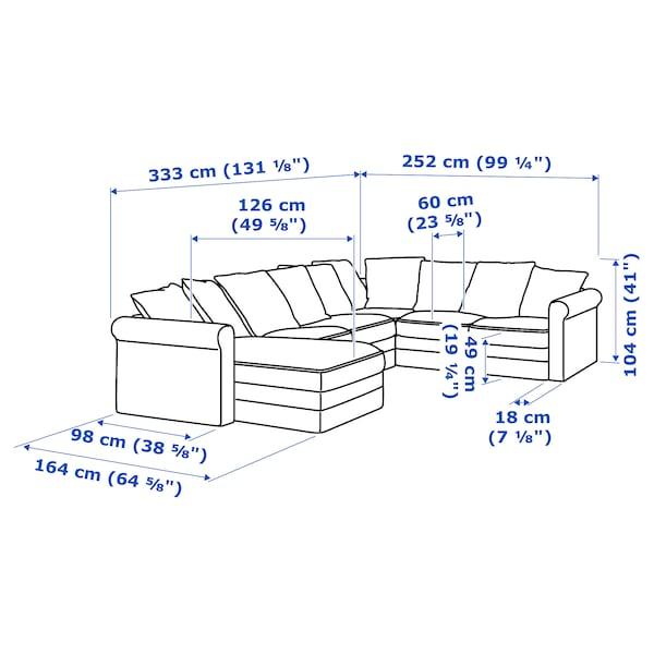 GRÖNLID كنبة زاوية، 5 مقاعد مع أريكة طويلة/Sporda لون طبيعي 104 سم 164 سم 98 سم 126 سم 252 سم 333 سم 7 سم 18 سم 68 سم 60 سم 49 سم