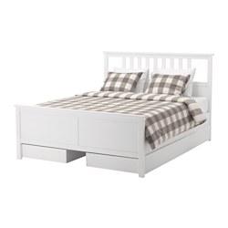 HEMNES هيكل سرير يتضمن عدد 4 صناديق تخزين