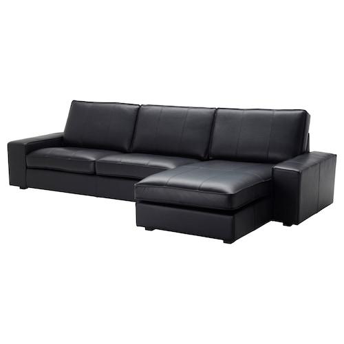 KIVIK كنبة 4 مقاعد مع أريكة طويلة/Grann/Bomstad أسود 318 سم 163 سم 83 سم 270 سم 60 سم 124 سم 45 سم