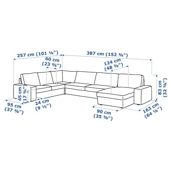 KIVIK كنبة زاوية، 6 مقاعد مع أريكة طويلة/Skiftebo رمادي غامق 163 سم 83 سم 124 سم 387 سم 257 سم 24 سم 60 سم 45 سم