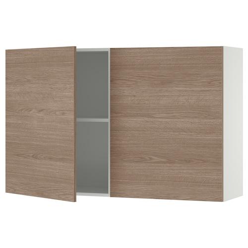 KNOXHULT خزانة حائط مع أبواب مظهر الخشب/رمادي 120.0 سم 31.0 سم 75.0 سم