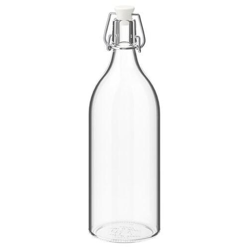 KORKEN قنينة مع سدادة زجاج شفاف 29 سم 9 سم 1 ل