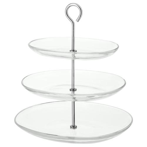 KVITTERA منصة تقديم، 3 صفوف زجاج شفاف/ستينلس ستيل 31 سم 27 سم 34 سم