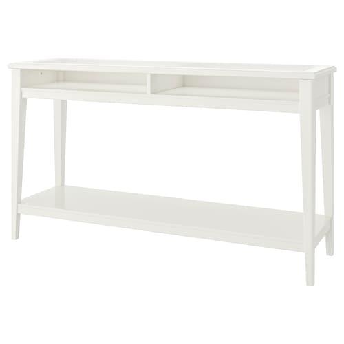 LIATORP طاولة كونسول أبيض/زجاج 133 سم 37 سم 75 سم
