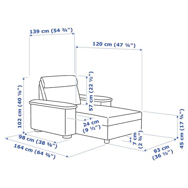 LIDHULT أريكة طويلة Lejde أحمر-بني 102 سم 74 سم 138 سم 160 سم 7 سم 90 سم 128 سم 42 سم