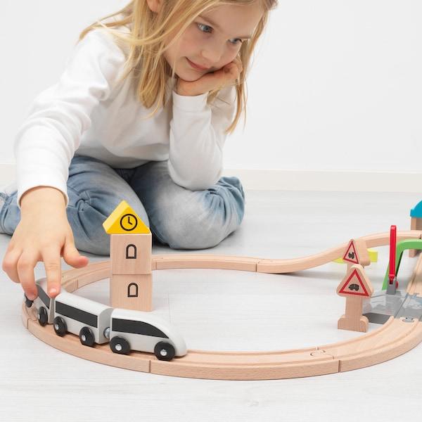 LILLABO طقم قطار مع قضبان 45 قطعة