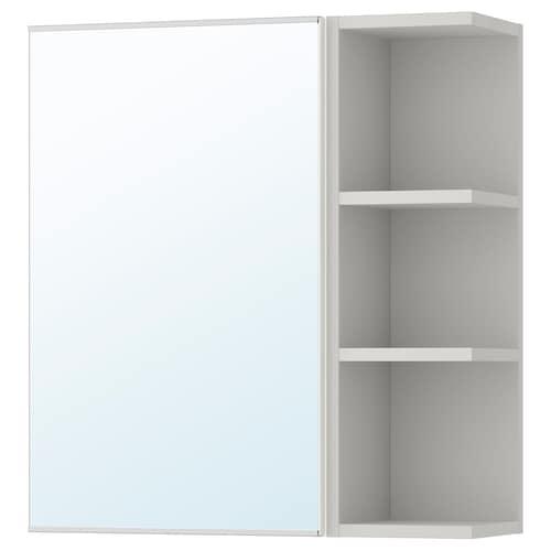 LILLÅNGEN خزانة بمرآة 1 باب/1 وحدة نهاية أبيض/رمادي 59 سم 21 سم 64 سم