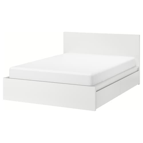 MALM هيكل سرير، عالي مع 4 صناديق تخزين أبيض 15 سم 209 سم 196 سم 97 سم 59 سم 38 سم 100 سم 200 سم 180 سم 100 سم