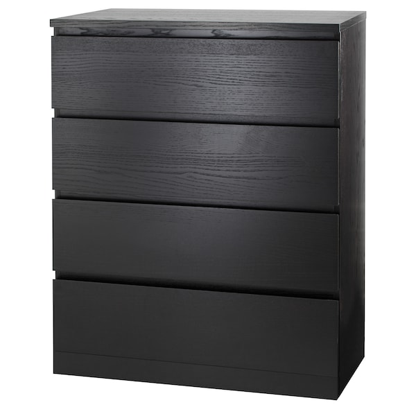 MALM خزانة بـ 4 أدراج أسود-بني 80 سم 48 سم 100 سم 72 سم 43 سم