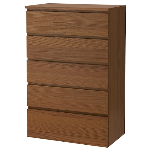 MALM خزانة بـ 6 أدراج صباغ بني قشرة خشب الدردار 80 سم 48 سم 123 سم 72 سم 43 سم