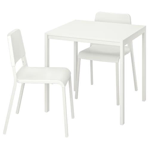 MELLTORP / TEODORES طاولة وكرسيان أبيض/أبيض 75 سم 75 سم