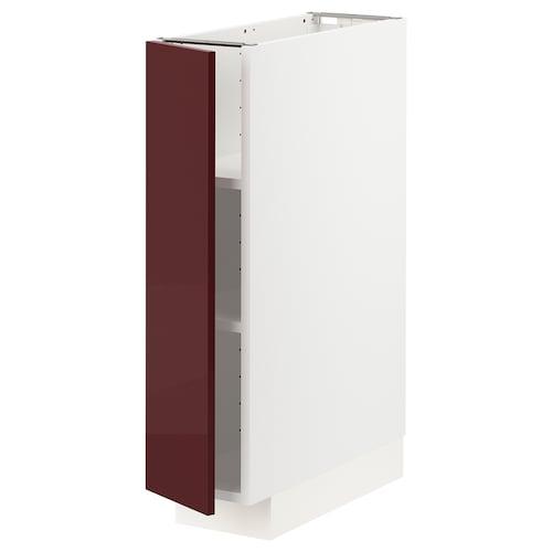 METOD خزانة قاعدية مع رفوف أبيض Kallarp/لامع أحمر-بني غامق 20.0 سم 61.6 سم 88.0 سم 60.0 سم 80.0 سم
