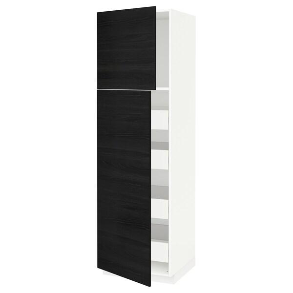 METOD / FÖRVARA خزانة عالية مع بابين/4 أدراج أبيض/Tingsryd أسود 60.0 سم 61.6 سم 208.0 سم 60.0 سم 200.0 سم