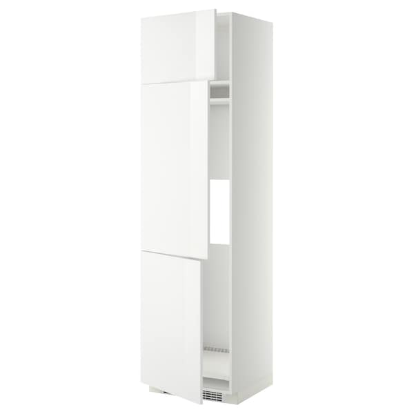 METOD خزانة مرتفعة ثلاجة/فريزر مع 3 أبواب أبيض/Ringhult أبيض 60.0 سم 61.8 سم 228.0 سم 60.0 سم 220.0 سم