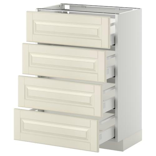 METOD / MAXIMERA خ. قاعدة 4 واجهات/4 أدراج أبيض/Bodbyn أبيض-عاجي 60.0 سم 39.5 سم 88.0 سم 37.0 سم 80.0 سم