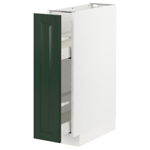 METOD / MAXIMERA خزانة قاعدية/أدوات تثبيت داخلية أبيض/Bodbyn أخضر غامق 20.0 سم 61.9 سم 88.0 سم 60.0 سم 80.0 سم