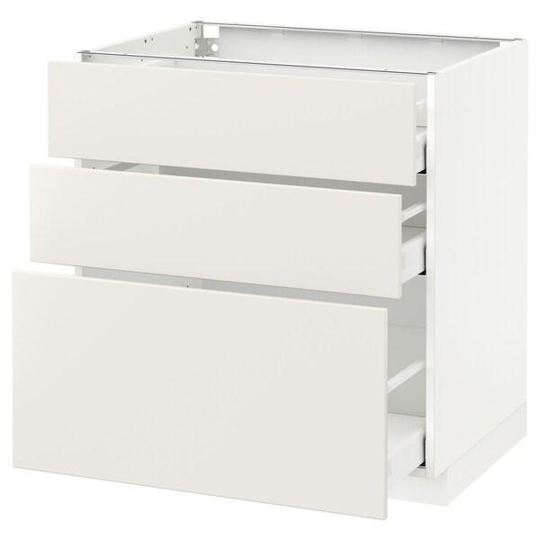 METOD / MAXIMERA خزانة أساسية مع 3 أدراج أبيض/Veddinge أبيض 80.0 سم 61.6 سم 88.0 سم 60.0 سم 80.0 سم