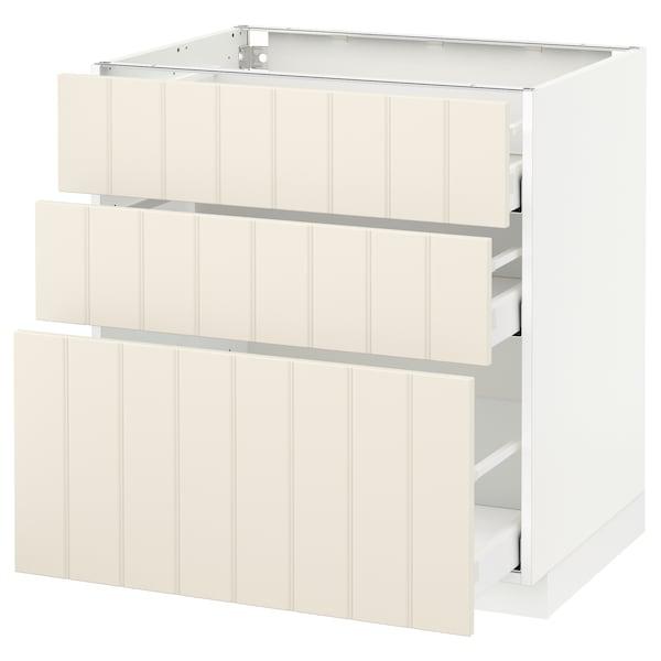 METOD / MAXIMERA خزانة أساسية مع 3 أدراج أبيض/Hittarp أبيض-عاجي 80.0 سم 61.8 سم 88.0 سم 60.0 سم 80.0 سم