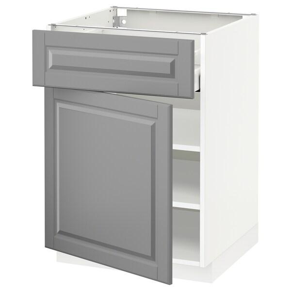 METOD / MAXIMERA خزانة قاعدة مع درج/باب أبيض/Bodbyn رمادي 60.0 سم 61.9 سم 88.0 سم 60.0 سم 80.0 سم