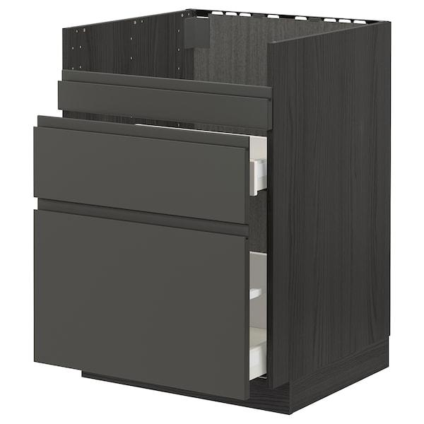 METOD / MAXIMERA قاعدة HAVSEN مع حوض/3 واجهات/درجين أسود/Voxtorp رمادي غامق 60.0 سم 62.1 سم 88.0 سم 60.0 سم 80.0 سم