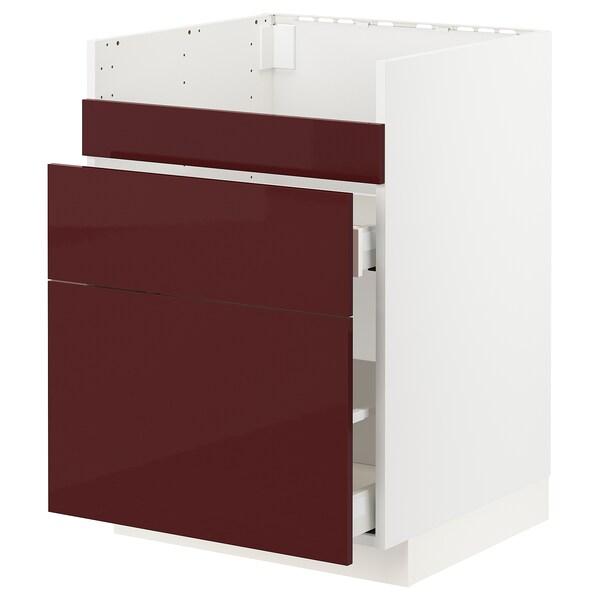 METOD / MAXIMERA قاعدة HAVSEN مع حوض/3 واجهات/درجين أبيض Kallarp/لامع أحمر-بني غامق 60.0 سم 61.6 سم 88.0 سم 60.0 سم 80.0 سم