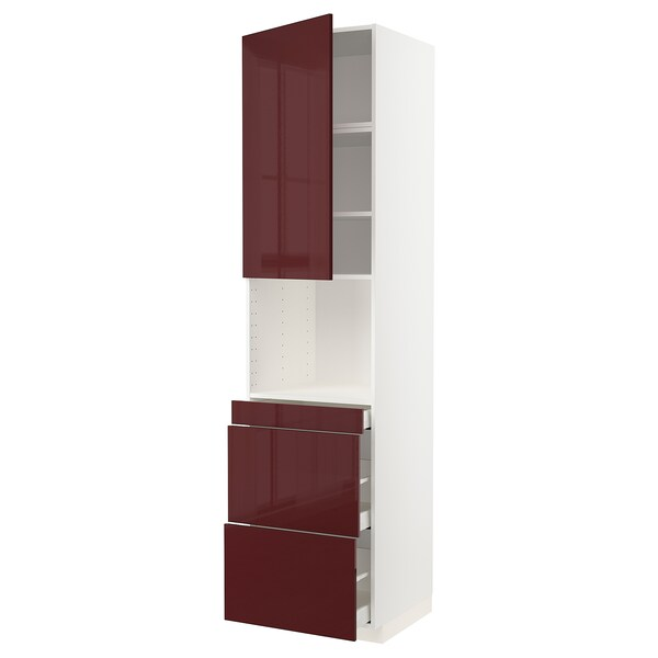 METOD / MAXIMERA خزانة عالية لميكروويف وباب/3 أدرا أبيض Kallarp/لامع أحمر-بني غامق 60.0 سم 61.6 سم 248.0 سم 60.0 سم 240.0 سم