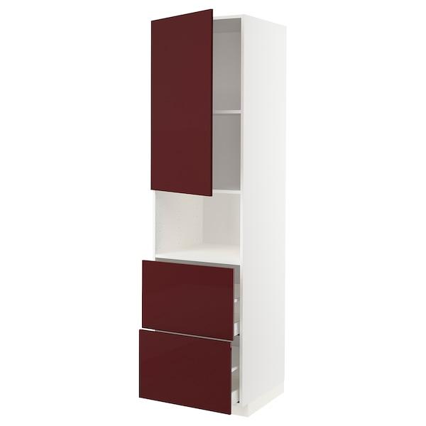 METOD / MAXIMERA خزانة عالية لميكروويف مع باب/درجين أبيض Kallarp/لامع أحمر-بني غامق 60.0 سم 61.6 سم 228.0 سم 60.0 سم 220.0 سم