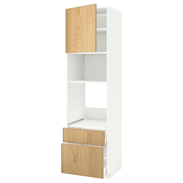 METOD / MAXIMERA خزانة عالية لفرن/م. مع باب/2 أدراج أبيض/Ekestad سنديان 60.0 سم 61.9 سم 228.0 سم 60.0 سم 220.0 سم