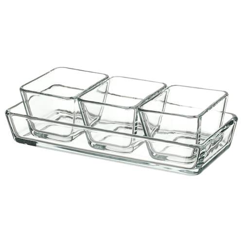 MIXTUR صحن فرن/تقديم طقم من 4. زجاج شفاف