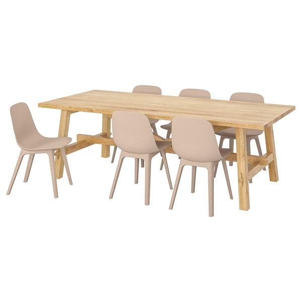 MÖCKELBY / ODGER طاولة و 6 كراسي سنديان/أبيض/بيج 235 سم 100 سم 74 سم