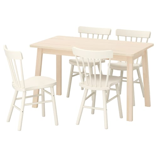 NORRÅKER / NORRARYD طاولة و4 كراسي بتولا/أبيض 125 سم 74 سم