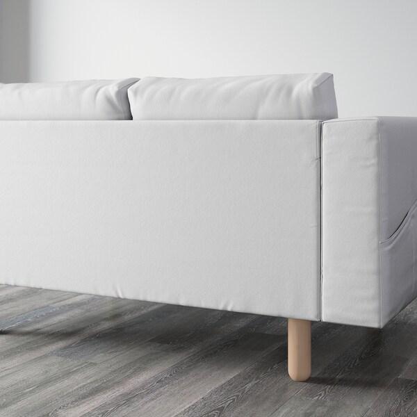 NORSBORG كنبة 4 مقاعد مع كرسي أسترخاء/Finnsta أبيض/بتولا 309 سم 85 سم 88 سم 157 سم 129 سم 18 سم 60 سم 43 سم
