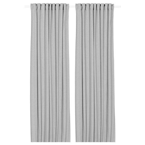 ORDENSFLY ستائر، 1 زوج أبيض/رمادي غامق 300 سم 145 سم 1.85 كلغ 4.35 م² 2 قطعة