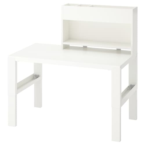 PÅHL مكتب مع وحدة إضافة أبيض 96 سم 58 سم 98 سم 111 سم 50 كلغ