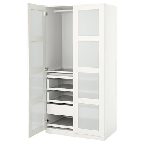 PAX / BERGSBO تشكيلة دولاب ملابس. أبيض/زجاج محبب 100.0 سم 60.0 سم 201.2 سم