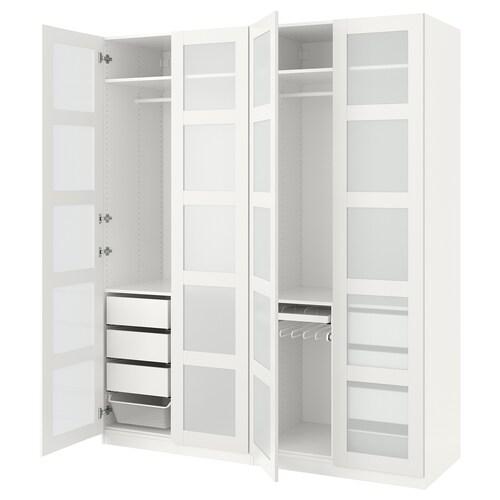 PAX دولاب ملابس أبيض/Bergsbo زجاج محبب 200 سم 60 سم 236.4 سم