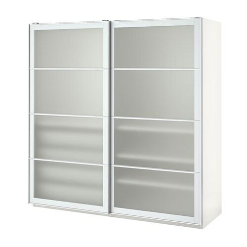 PAX دولاب ملابس أبيض/Nykirke زجاج ضبابي، نقش محبب 200.0 سم 66.0 سم 201.2 سم