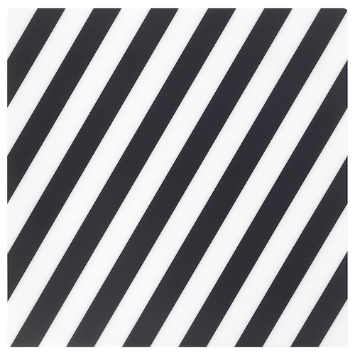 PIPIG مفرش أطباق مخطط/أسود/ أبيض 37 سم 37 سم