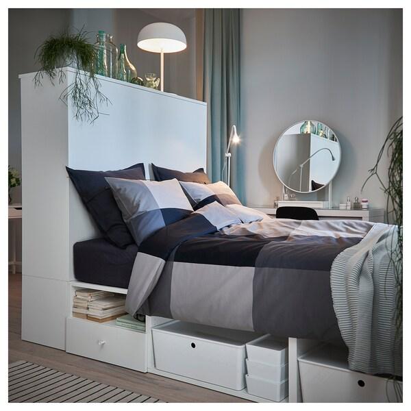 PLATSA هيكل سرير مع بابين+ 3 أدراج أبيض/Fonnes 40 سم 243.9 سم 141.6 سم 43 سم 162.6 سم 200 سم 140 سم