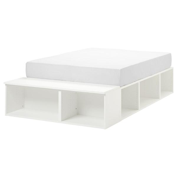 PLATSA هيكل سرير مع تخزين أبيض 40 سم 244 سم 140 سم 43 سم 200 سم 140 سم