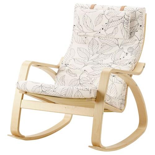 POÄNG كرسي هزّاز قشرة بتولا/Vislanda أسود/ أبيض 68 سم 94 سم 95 سم 56 سم 50 سم 45 سم