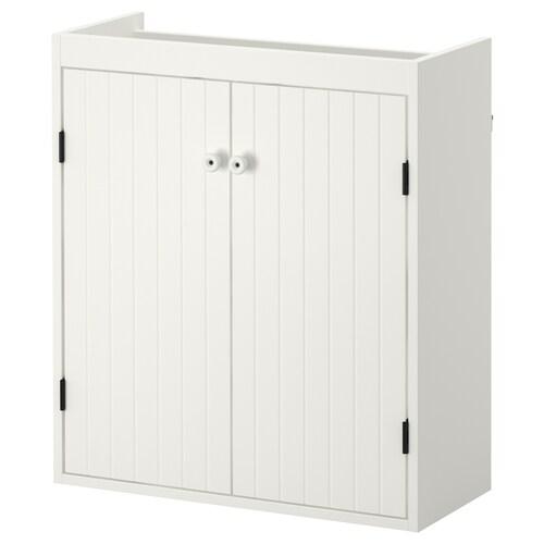SILVERÅN خزانة الحوض مع بابين أبيض 60 سم 25 سم 67.6 سم
