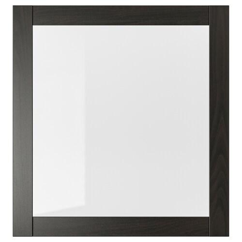 SINDVIK باب زجاج أسود-بني/زجاج شفاف 60 سم 64 سم