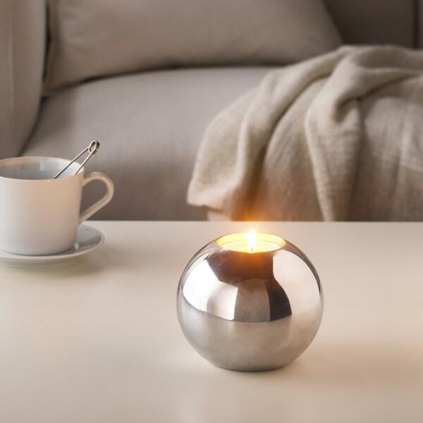 SINNLIG شمع معطر في كوب معدني فانيليا حلوة/لون طبيعي 59 مم 9 س 12 قطعة