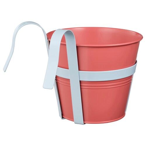 SOCKER آنية نباتات مع حامل داخلي/خارجي أحمر-وردي 17 سم 20 سم 17 سم 18 سم