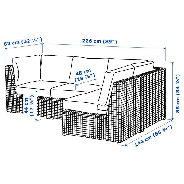SOLLERÖN وحدة كنب زاوية 3 مقاعد، خارجي بني/Frösön/Duvholmen بيج 82 سم 88 سم 144 سم 226 سم 48 سم 44 سم