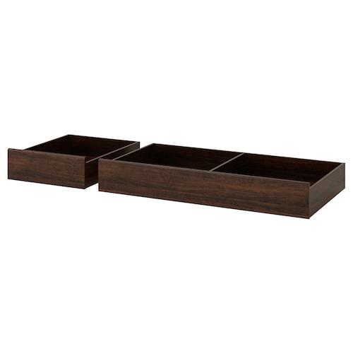 SONGESAND صندوق تخزين سرير، طقم من 2 بني 14 سم 14 سم 64 سم 64 سم 67 سم 56 سم 199 سم 67 سم 23 سم 200 سم