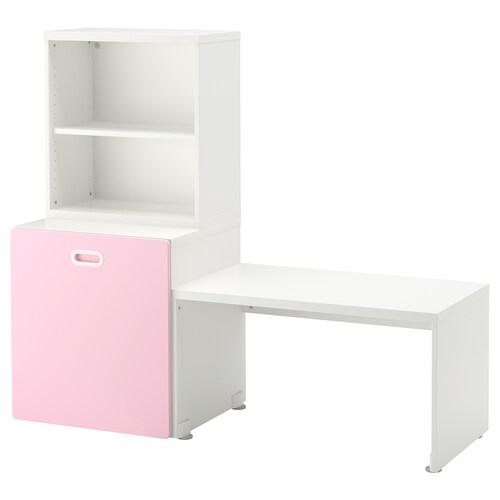 STUVA / FRITIDS طاولة مع خزانة ألعاب أبيض/زهري فاتح 150 سم 50 سم 128 سم